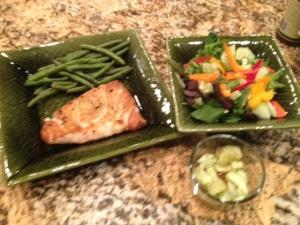 Paleo diet, wild Alaskan salmon, organic green beans, organinc salad