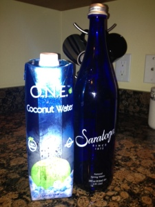 hydrate with coconut water and spring water in glass bottes