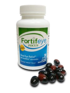 Fortifeye Focus with 6 mg astaxanthin and 6 mg lutein and 400 mcg zeaxanthin